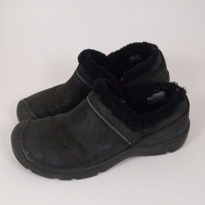 Keen 8 Black Suede Slip on Sherpa Lined Clog Mules